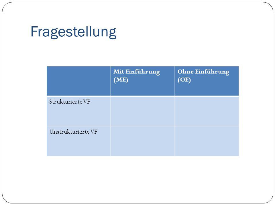 Fragestellung Mit Einführung (ME) Ohne Einführung (OE) Strukturierte VF Unstrukturierte VF