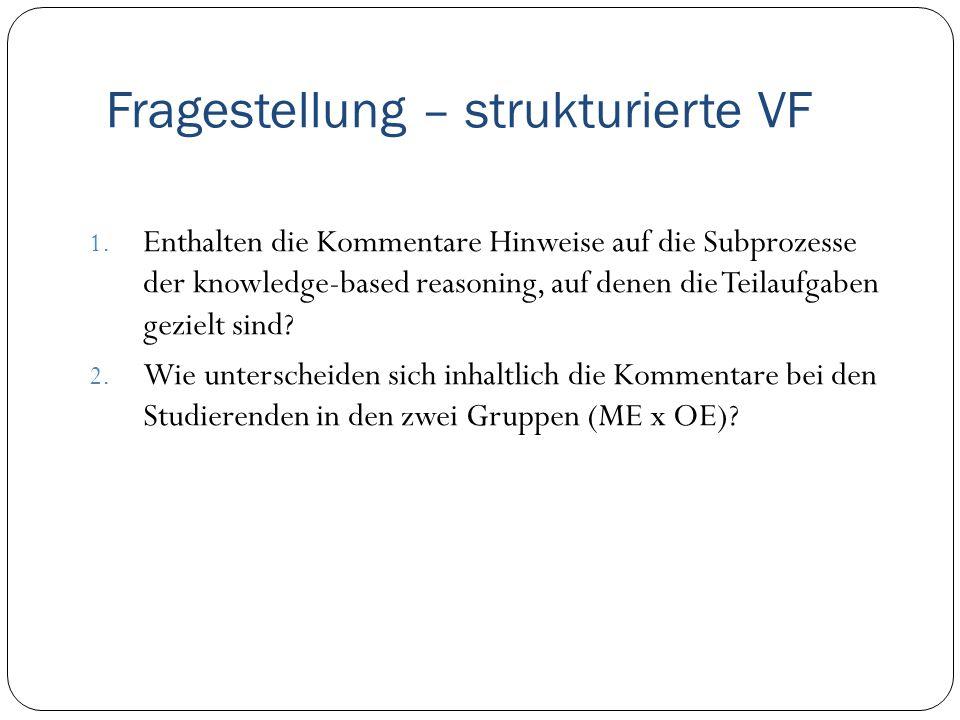Fragestellung – strukturierte VF 1. Enthalten die Kommentare Hinweise auf die Subprozesse der knowledge-based reasoning, auf denen die Teilaufgaben ge