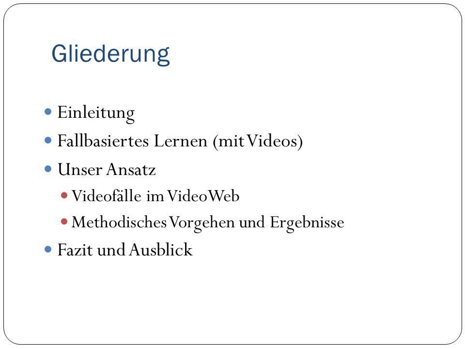 Gliederung Einleitung Fallbasiertes Lernen (mit Videos) Unser Ansatz Videofälle im VideoWeb Methodisches Vorgehen und Ergebnisse Fazit und Ausblick