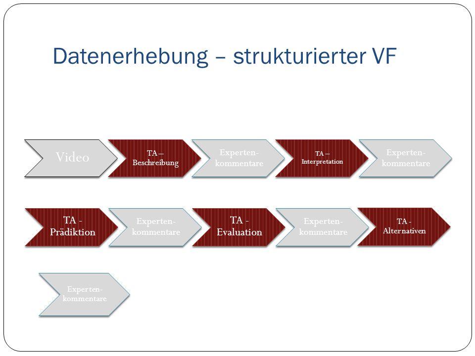 Datenerhebung – strukturierter VF Video TA – Beschreibung Experten- kommentare TA – Interpretation Experten- kommentare TA - Prädiktion Experten- kommentare TA - Evaluation Experten- kommentare TA - Alternativen Experten- kommentare