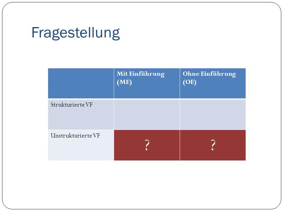 Fragestellung Mit Einführung (ME) Ohne Einführung (OE) Strukturierte VF Unstrukturierte VF ??