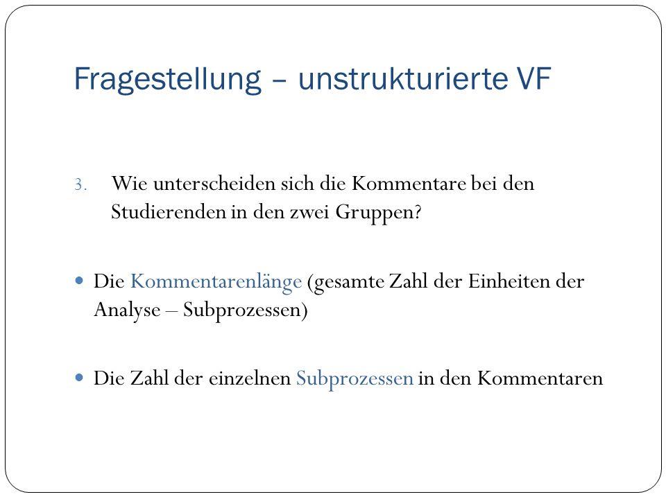 Fragestellung – unstrukturierte VF 3. Wie unterscheiden sich die Kommentare bei den Studierenden in den zwei Gruppen? Die Kommentarenlänge (gesamte Za