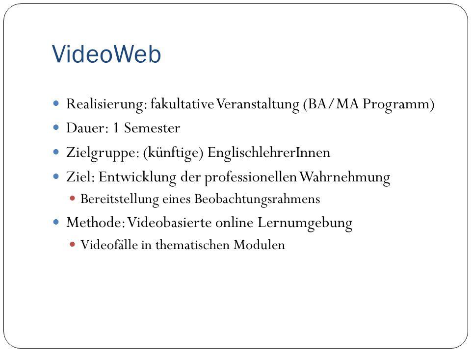VideoWeb Realisierung: fakultative Veranstaltung (BA/MA Programm) Dauer: 1 Semester Zielgruppe: (künftige) EnglischlehrerInnen Ziel: Entwicklung der p
