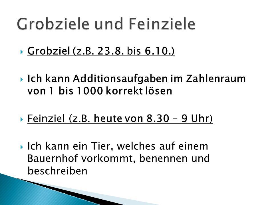  Grobziel (z.B. 23.8. bis 6.10.)  Ich kann Additionsaufgaben im Zahlenraum von 1 bis 1000 korrekt lösen  Feinziel (z.B. heute von 8.30 - 9 Uhr)  I