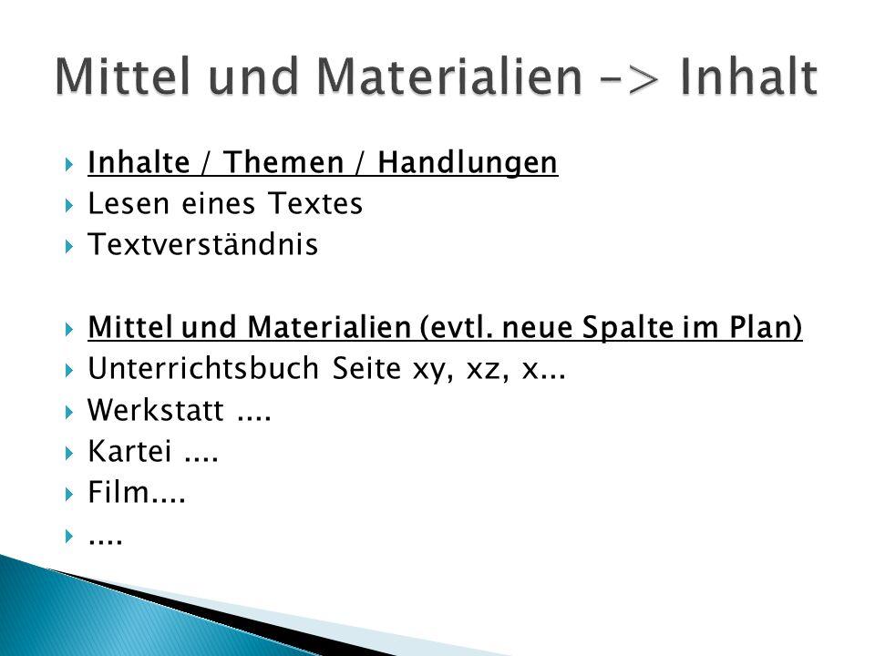  Inhalte / Themen / Handlungen  Lesen eines Textes  Textverständnis  Mittel und Materialien (evtl. neue Spalte im Plan)  Unterrichtsbuch Seite xy