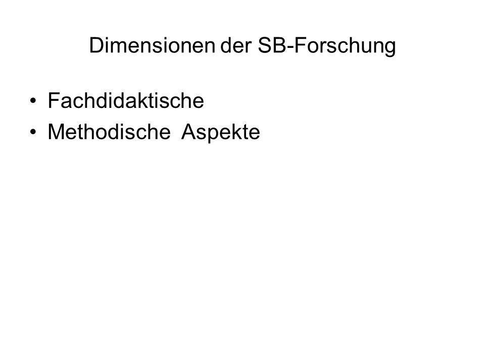 Dimensionen der SB-Forschung Fachdidaktische Methodische Aspekte