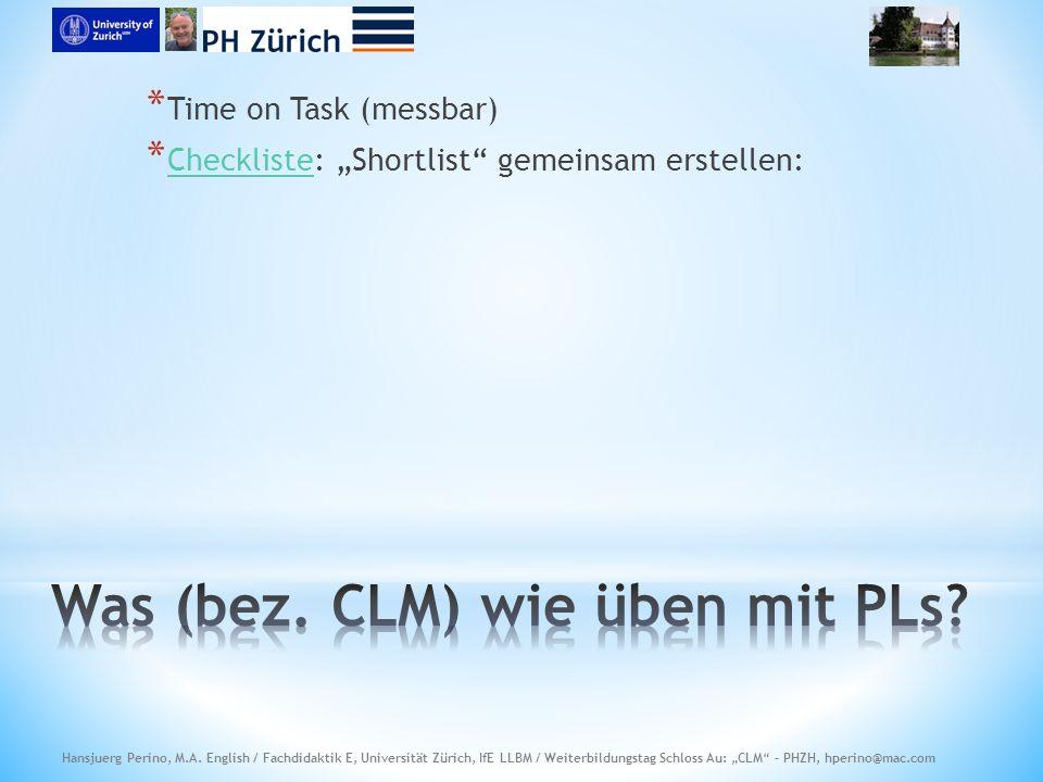 """* Time on Task (messbar) * Checkliste: """"Shortlist gemeinsam erstellen: Checkliste"""