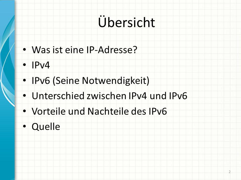IPv4 und IPv6 Vergrößerung des Adressraums von IPv4 mit 2 32 Adresse auf 2 128 Adresse bei IPv6 (genügend Raum um viele Netzwerk-Topologie abzubilden) Veränderung der Schreibweise, von Dezimal (32 Bit) auf Hexadezimal (128bit), nicht nur Ziffern aber auch mit Buchstaben, nicht mehr durch punkte getrennt sondern durch Doppelpunkt, Die Implementierung von IPsec ermöglicht eine Verschlüsselung (Punkt-zu Punkt) und eine Überprüfung der Authentizität von IP- Pakete Unterstützung von Netztechniken wie Quality of Service und Multicast.