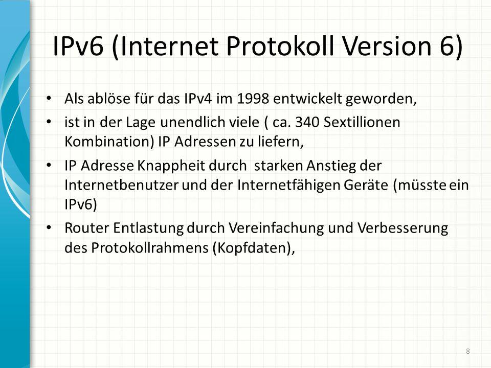 IPv6 (Internet Protokoll Version 6) Als ablöse für das IPv4 im 1998 entwickelt geworden, ist in der Lage unendlich viele ( ca.
