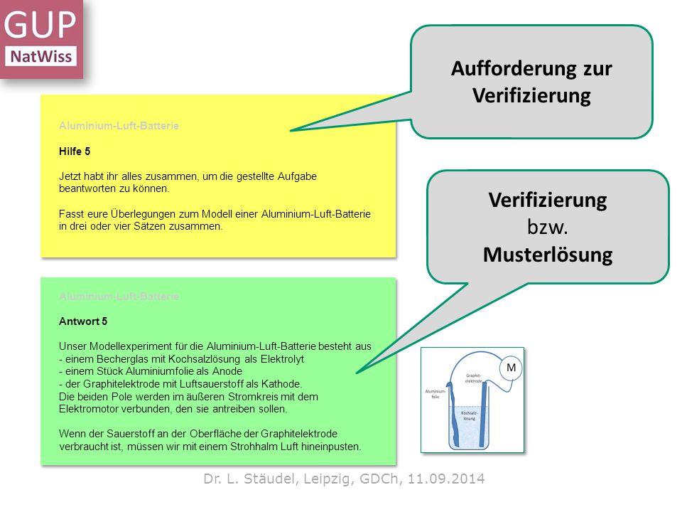 Dr. L. Stäudel, Leipzig, GDCh, 11.09.2014 Aufforderung zur Verifizierung Verifizierung bzw. Musterlösung