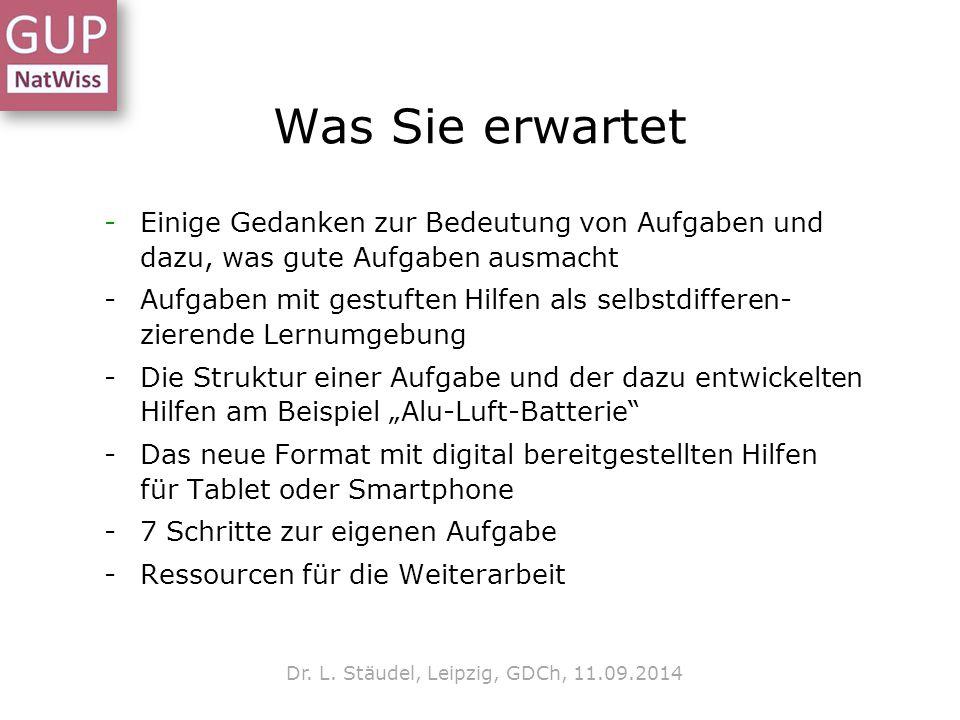 Dr. L. Stäudel, Leipzig, GDCh, 11.09.2014 Visualisierung Aufforderung zur Visualisierung