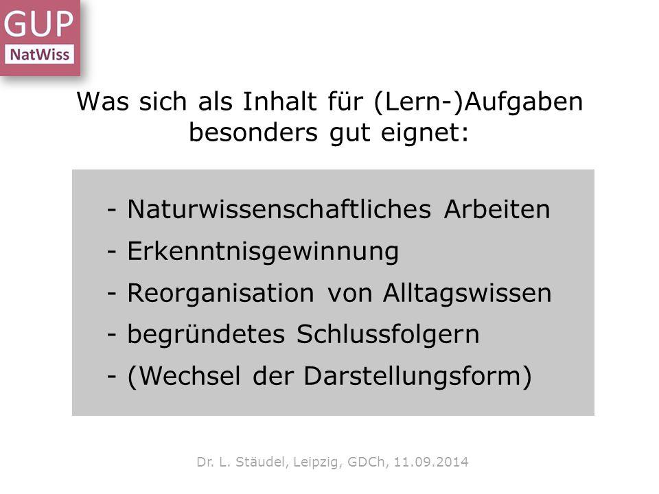Was sich als Inhalt für (Lern-)Aufgaben besonders gut eignet: Dr. L. Stäudel, Leipzig, GDCh, 11.09.2014 - Naturwissenschaftliches Arbeiten - Erkenntni