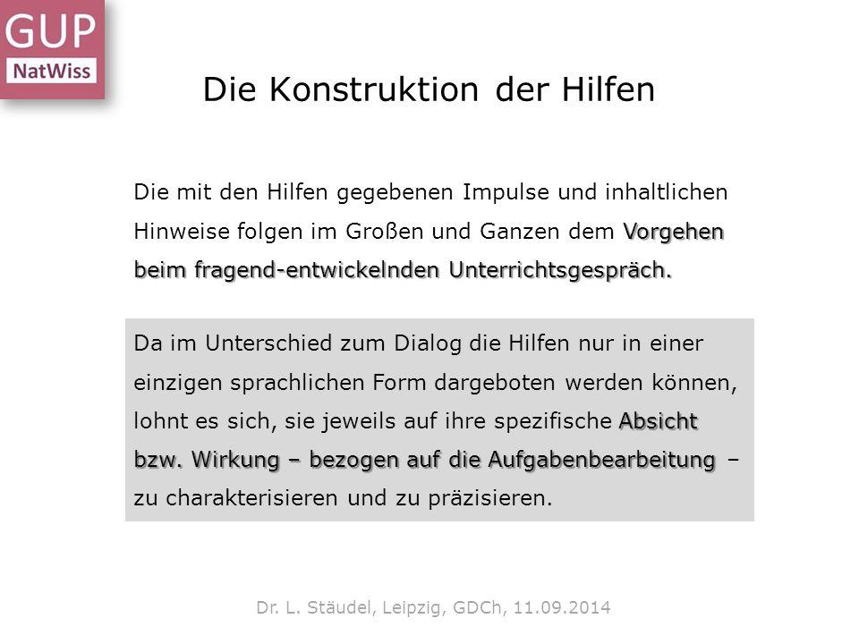 Die Konstruktion der Hilfen Dr. L. Stäudel, Leipzig, GDCh, 11.09.2014 Vorgehen beim fragend-entwickelnden Unterrichtsgespräch. Die mit den Hilfen gege