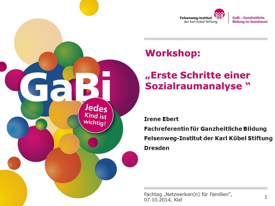 """1 Irene Ebert Fachreferentin für Ganzheitliche Bildung Felsenweg-Institut der Karl Kübel Stiftung Dresden Workshop: """"Erste Schritte einer Sozialrauman"""