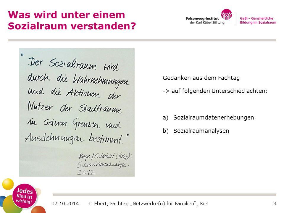 """07.10.2014 I. Ebert, Fachtag """"Netzwerke(n) für Familien"""", Kiel3 Was wird unter einem Sozialraum verstanden? Gedanken aus dem Fachtag -> auf folgenden"""