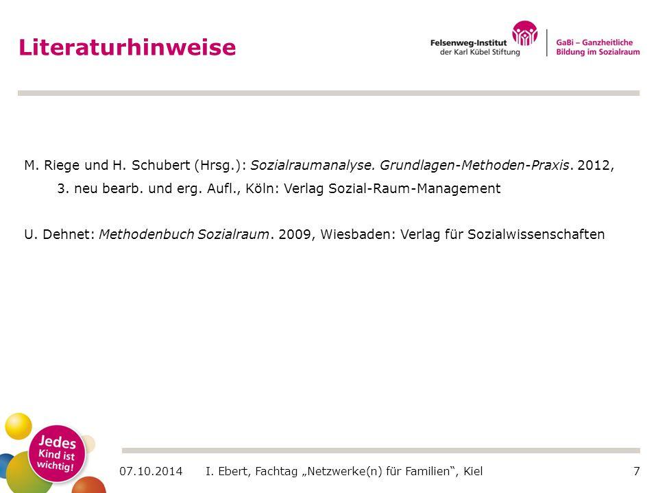 """07.10.2014 I. Ebert, Fachtag """"Netzwerke(n) für Familien"""", Kiel7 Literaturhinweise M. Riege und H. Schubert (Hrsg.): Sozialraumanalyse. Grundlagen-Meth"""