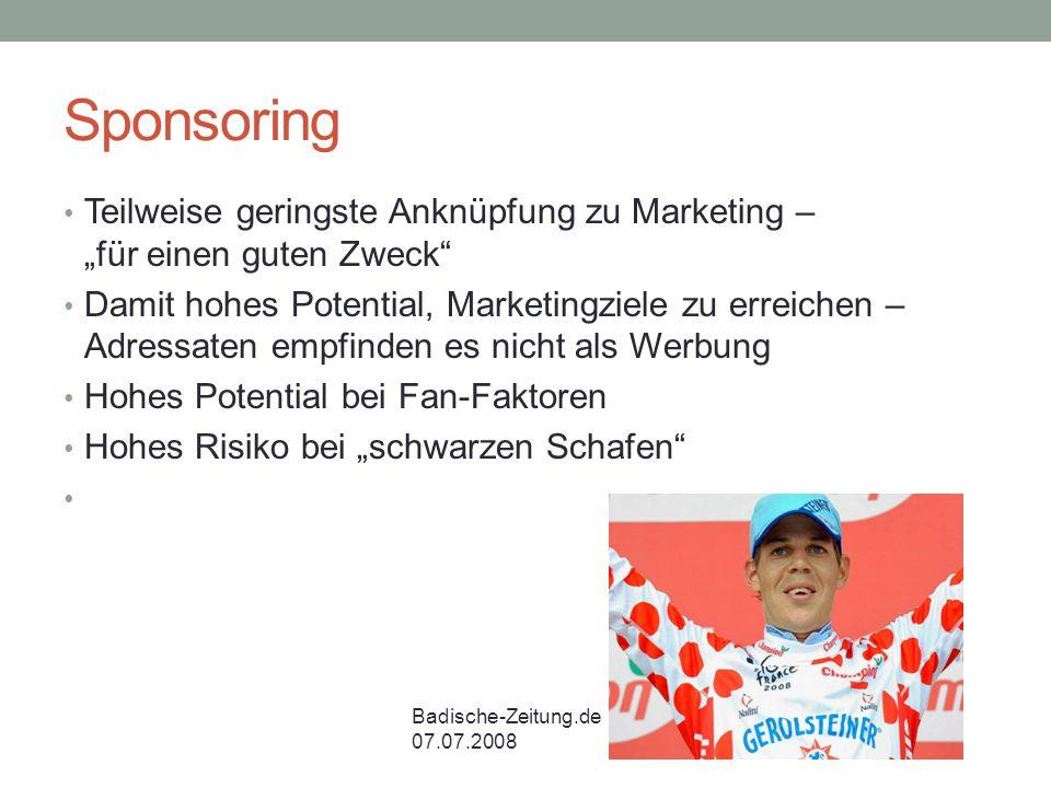 """Sponsoring Teilweise geringste Anknüpfung zu Marketing – """"für einen guten Zweck"""" Damit hohes Potential, Marketingziele zu erreichen – Adressaten empfi"""