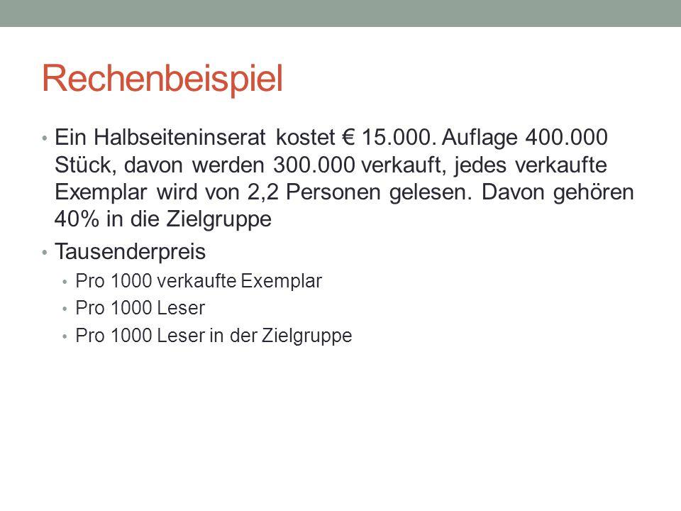 Rechenbeispiel Ein Halbseiteninserat kostet € 15.000. Auflage 400.000 Stück, davon werden 300.000 verkauft, jedes verkaufte Exemplar wird von 2,2 Pers