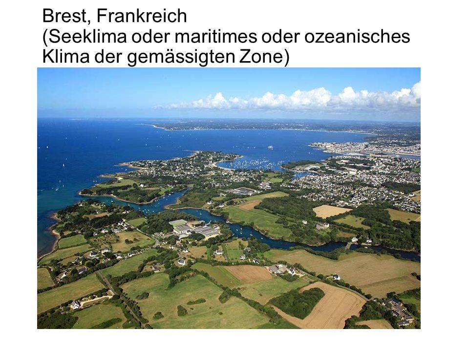 Brest, Frankreich (Seeklima oder maritimes oder ozeanisches Klima der gemässigten Zone)