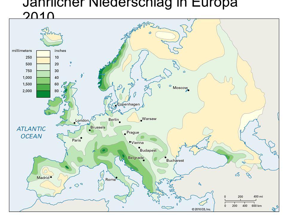 Jährlicher Niederschlag in Europa 2010