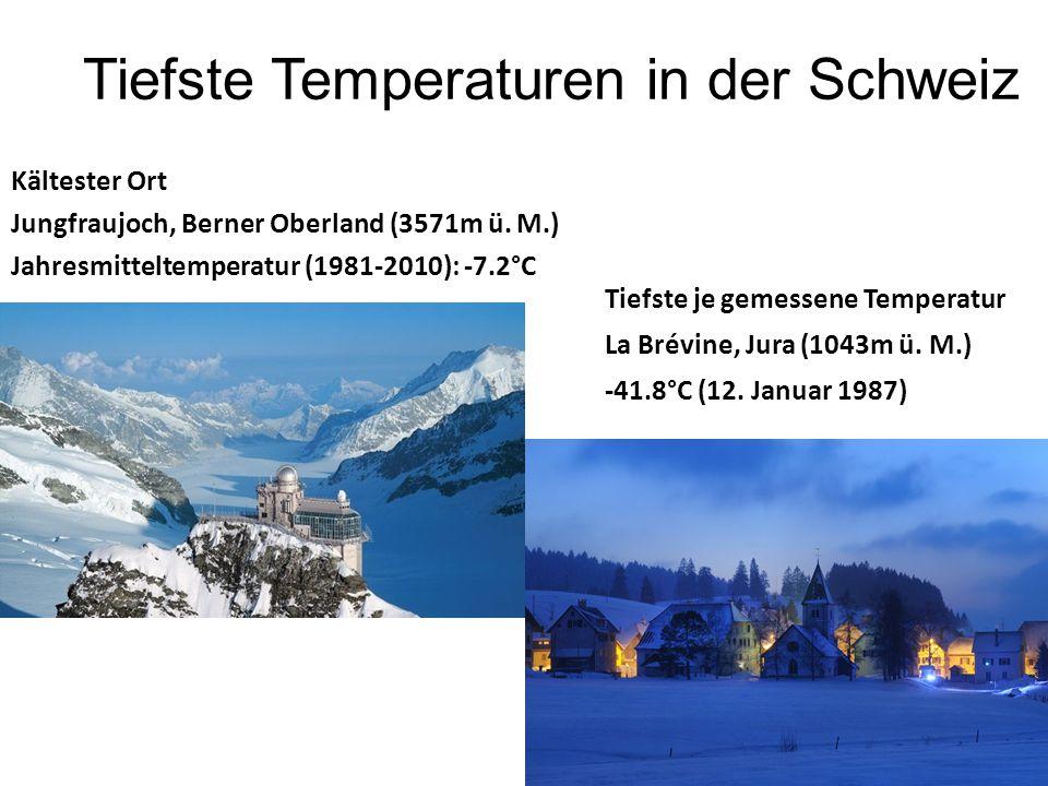 Tiefste Temperaturen in der Schweiz Kältester Ort Jungfraujoch, Berner Oberland (3571m ü. M.) Jahresmitteltemperatur (1981-2010): -7.2°C Tiefste je ge