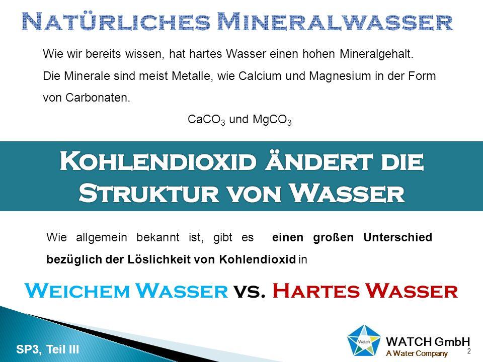 WATCH GmbH A Water Company 2 Wie wir bereits wissen, hat hartes Wasser einen hohen Mineralgehalt. Die Minerale sind meist Metalle, wie Calcium und Mag