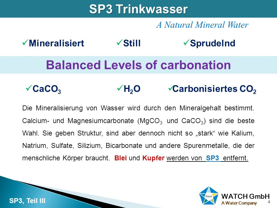 WATCH GmbH A Water Company SP3 Trinkwasser 4 SP3, Teil III A Natural Mineral Water Mineralisiert Still Sprudelnd Balanced Levels of carbonation CaCO 3