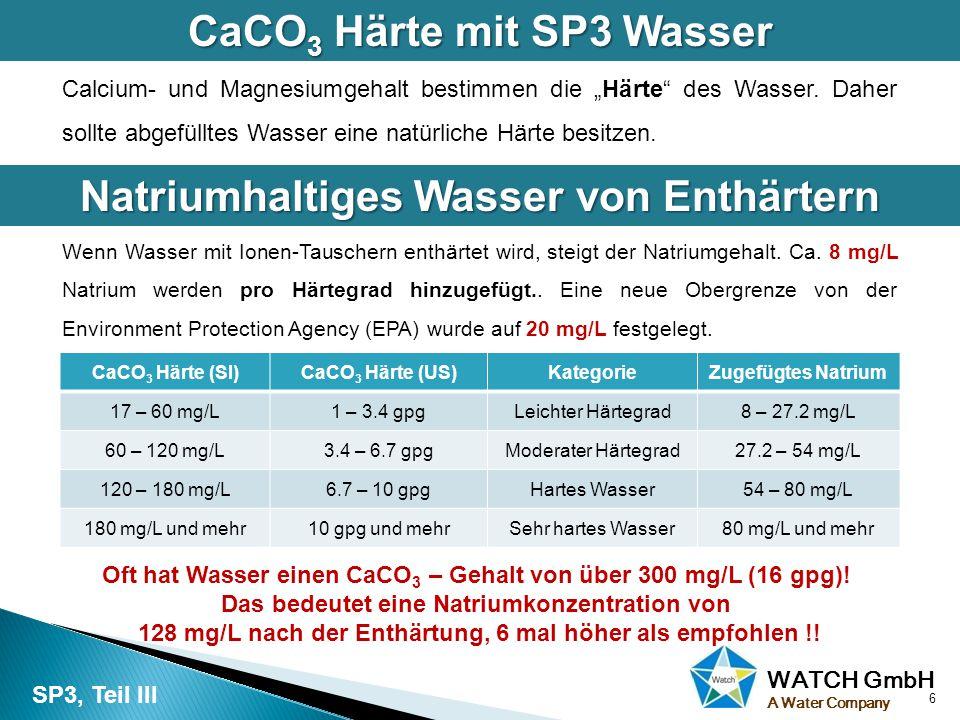 """WATCH GmbH A Water Company Calcium- und Magnesiumgehalt bestimmen die """"Härte"""" des Wasser. Daher sollte abgefülltes Wasser eine natürliche Härte besitz"""