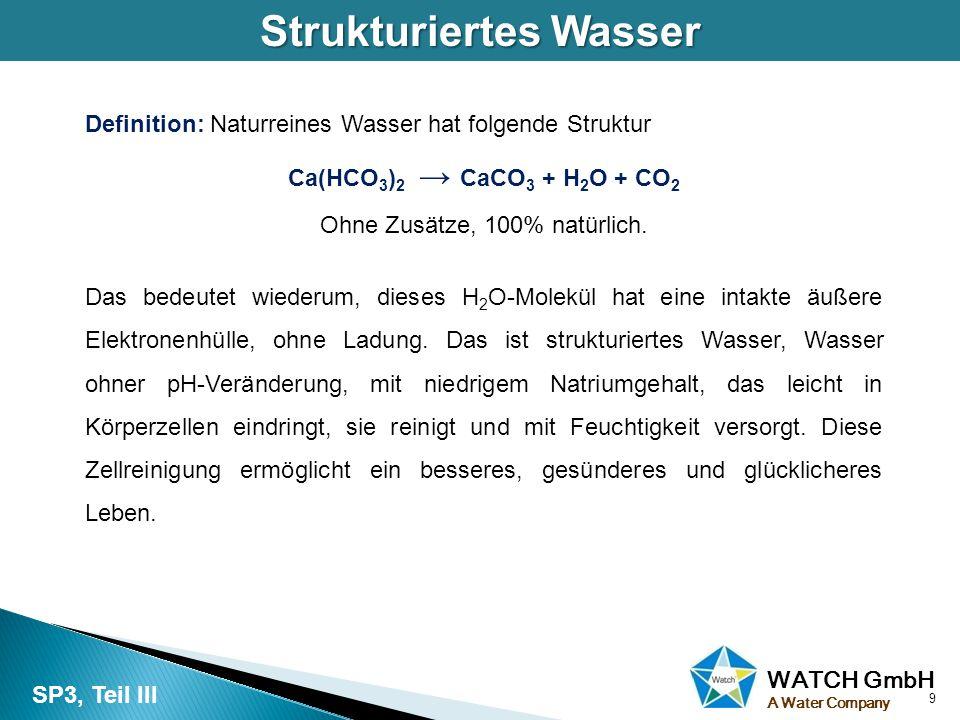 WATCH GmbH A Water Company Strukturiertes Wasser Definition: Naturreines Wasser hat folgende Struktur Ca(HCO 3 ) 2 → CaCO 3 + H 2 O + CO 2 Ohne Zusätz