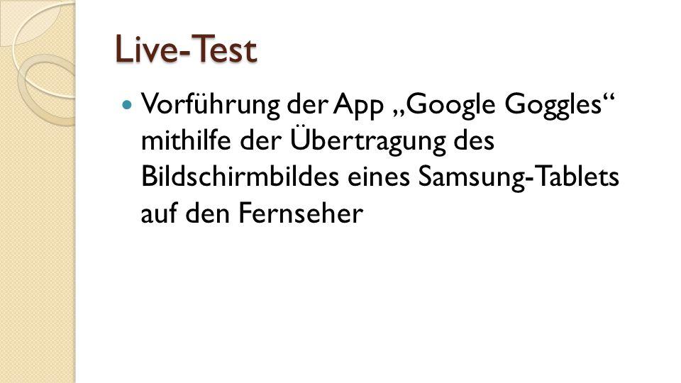 """Live-Test Vorführung der App """"Google Goggles mithilfe der Übertragung des Bildschirmbildes eines Samsung-Tablets auf den Fernseher"""
