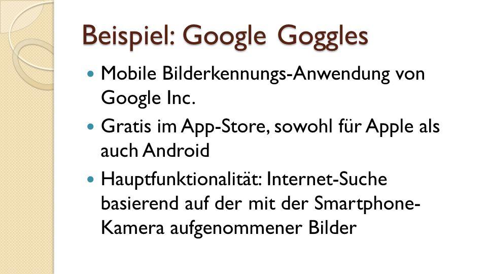 Beispiel: Google Goggles Mobile Bilderkennungs-Anwendung von Google Inc.