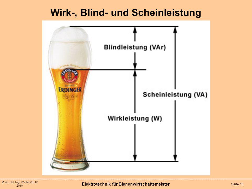 © WL. IM. Ing. Walter VELIK 2010 Wirk-, Blind- und Scheinleistung Elektrotechnik für Bienenwirtschaftsmeister Seite 10