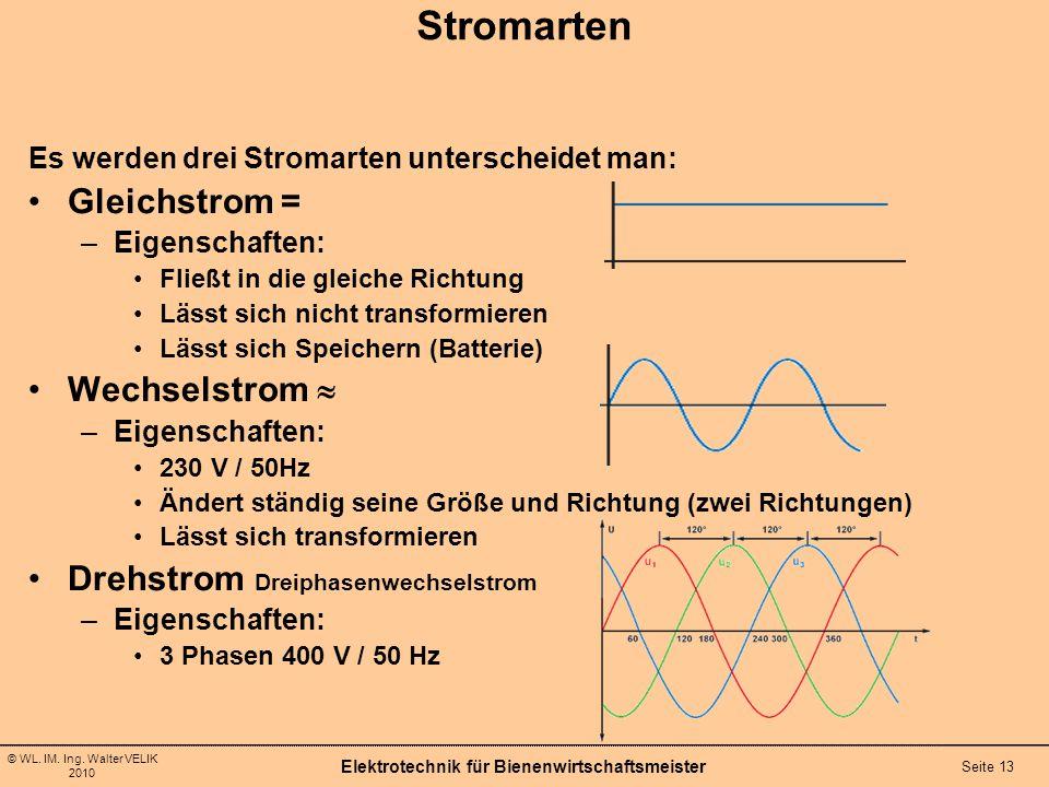 © WL. IM. Ing. Walter VELIK 2010 Elektrotechnik für Bienenwirtschaftsmeister Seite 13 Stromarten Es werden drei Stromarten unterscheidet man: Gleichst
