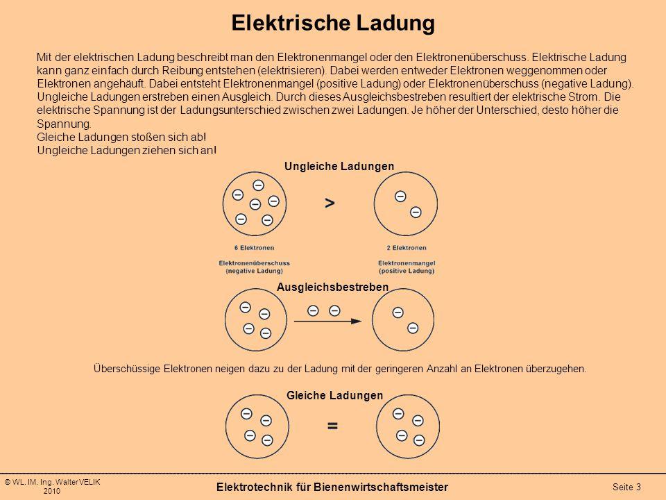 © WL. IM. Ing. Walter VELIK 2010 Elektrotechnik für Bienenwirtschaftsmeister Seite 3 Elektrische Ladung Mit der elektrischen Ladung beschreibt man den