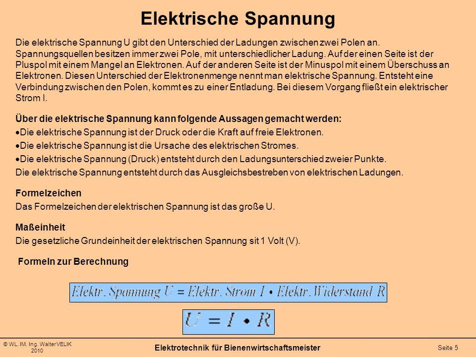 © WL. IM. Ing. Walter VELIK 2010 Elektrotechnik für Bienenwirtschaftsmeister Seite 5 Elektrische Spannung Die elektrische Spannung U gibt den Untersch
