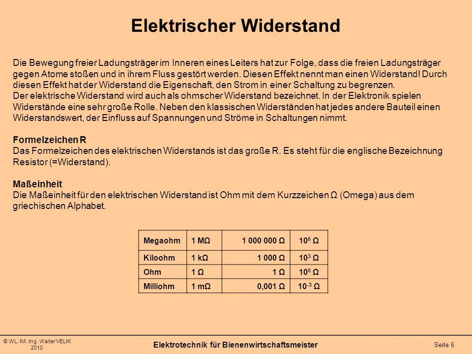 © WL. IM. Ing. Walter VELIK 2010 Elektrotechnik für Bienenwirtschaftsmeister Seite 6 Elektrischer Widerstand Die Bewegung freier Ladungsträger im Inne