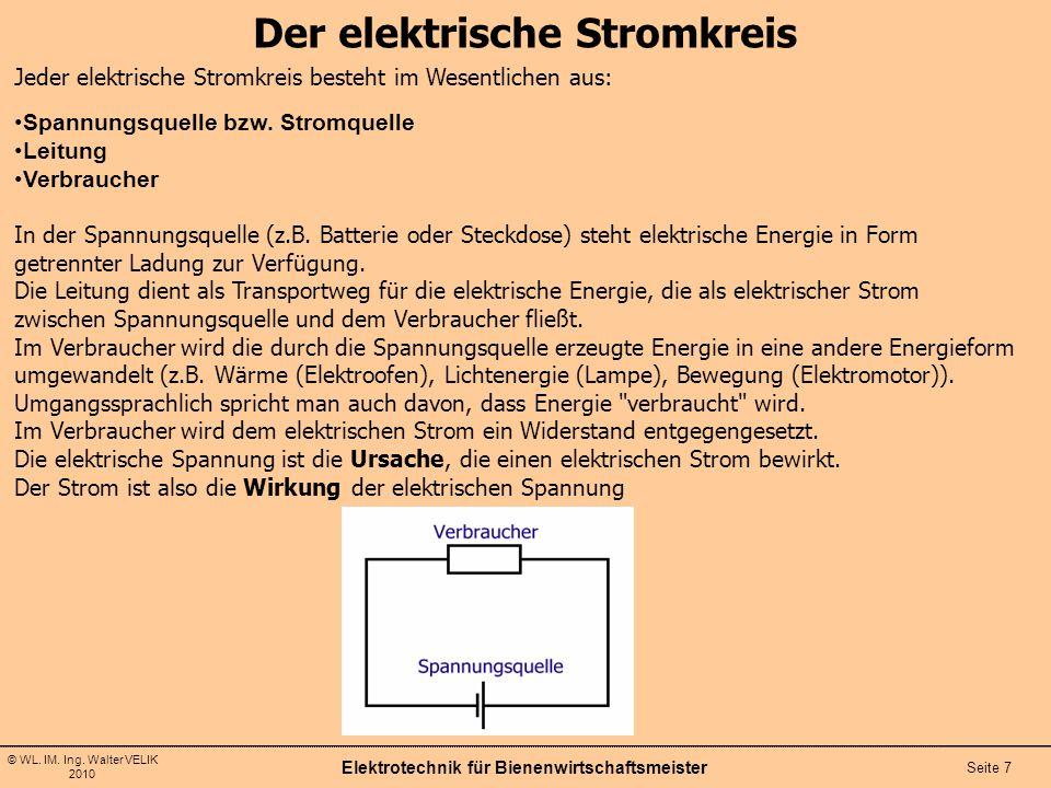 © WL. IM. Ing. Walter VELIK 2010 Der elektrische Stromkreis Elektrotechnik für Bienenwirtschaftsmeister Seite 7 Jeder elektrische Stromkreis besteht i