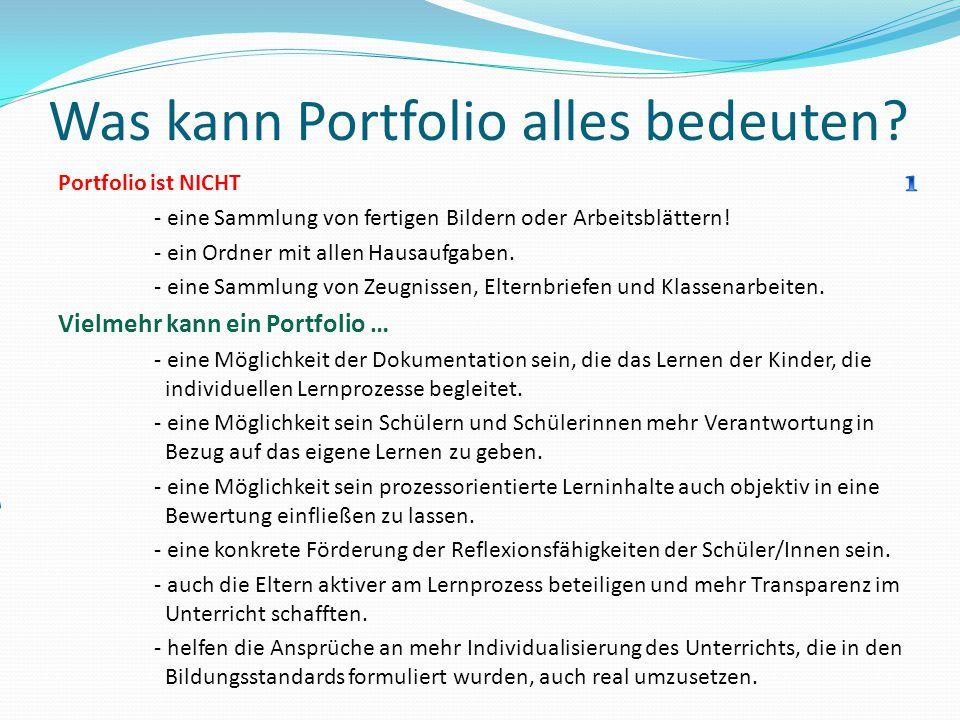 Was kann Portfolio alles bedeuten? Portfolio ist NICHT - eine Sammlung von fertigen Bildern oder Arbeitsblättern! - ein Ordner mit allen Hausaufgaben.