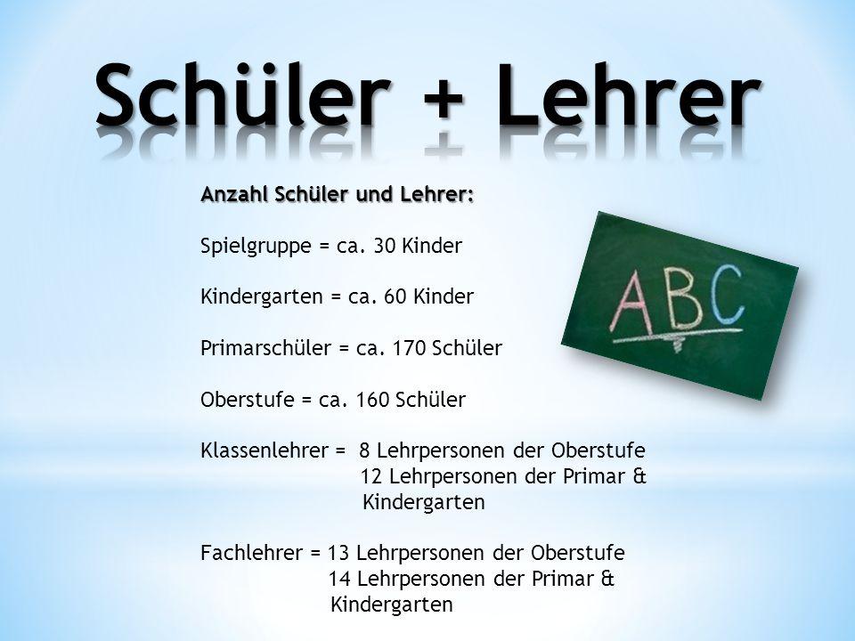 Anzahl Schüler und Lehrer: Spielgruppe = ca. 30 Kinder Kindergarten = ca. 60 Kinder Primarschüler = ca. 170 Schüler Oberstufe = ca. 160 Schüler Klasse