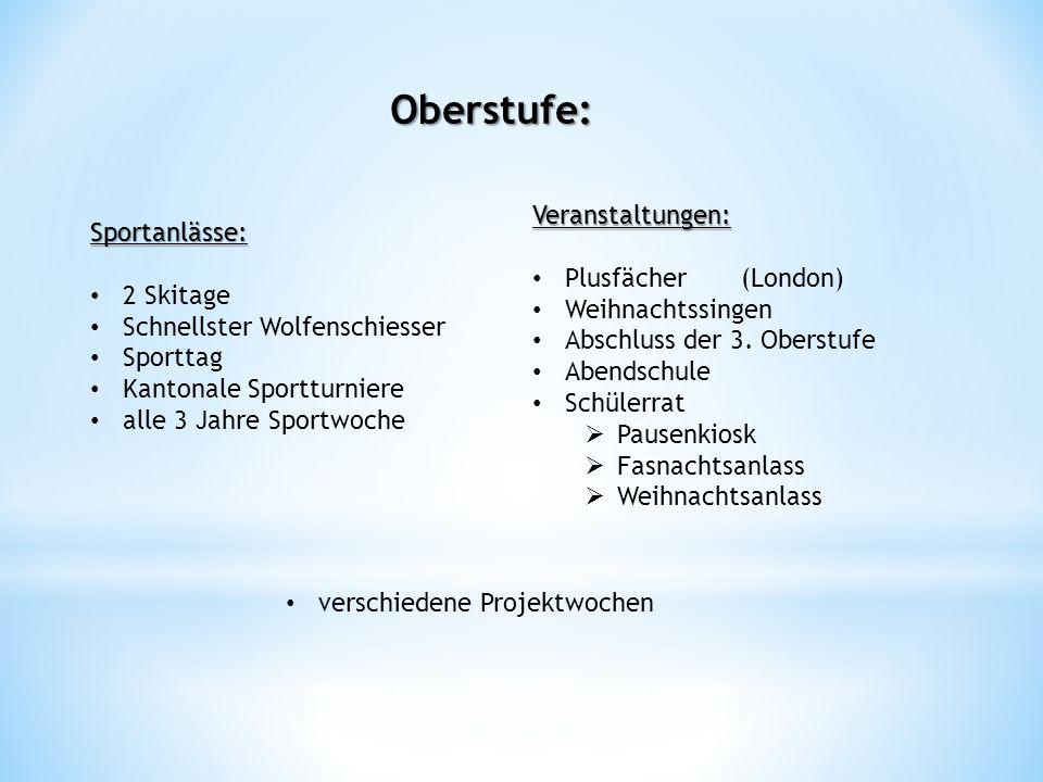 Sportanlässe: 2 Skitage Schnellster Wolfenschiesser Sporttag Kantonale Sportturniere alle 3 Jahre Sportwoche Oberstufe: Veranstaltungen: Plusfächer (L