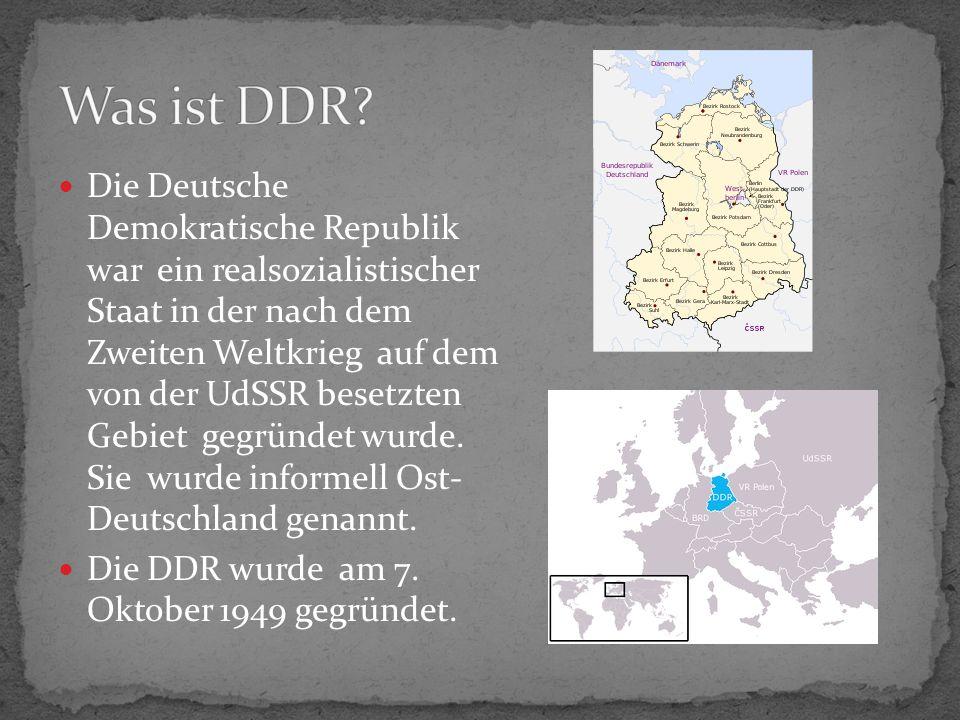 Die Deutsche Demokratische Republik war ein realsozialistischer Staat in der nach dem Zweiten Weltkrieg auf dem von der UdSSR besetzten Gebiet gegründet wurde.