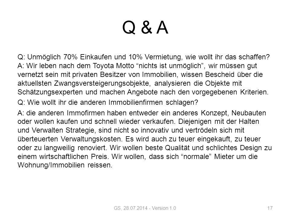Q & A Q: Unmöglich 70% Einkaufen und 10% Vermietung, wie wollt ihr das schaffen.