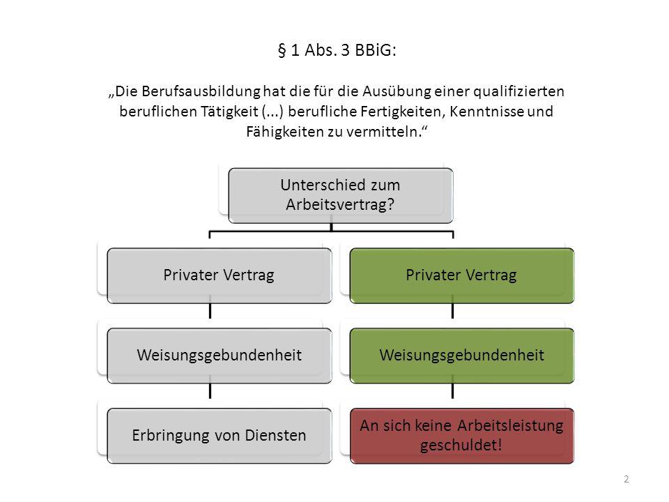 """2 § 1 Abs. 3 BBiG: """"Die Berufsausbildung hat die für die Ausübung einer qualifizierten beruflichen Tätigkeit (...) berufliche Fertigkeiten, Kenntnisse"""