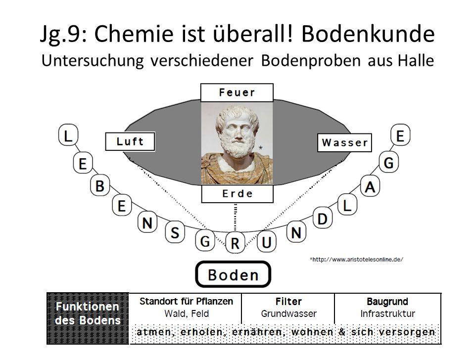 Jg.9: Chemie ist überall! Bodenkunde Untersuchung verschiedener Bodenproben aus Halle