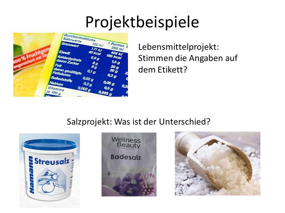 Projektbeispiele Lebensmittelprojekt: Stimmen die Angaben auf dem Etikett? Salzprojekt: Was ist der Unterschied?