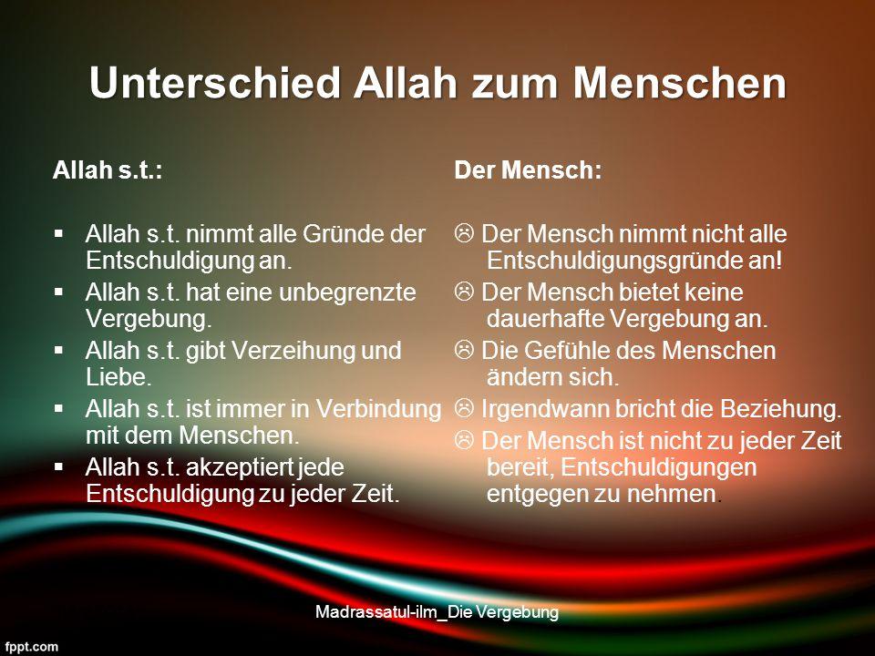 Unterschied Allah zum Menschen Allah s.t.:  Allah s.t. nimmt alle Gründe der Entschuldigung an.  Allah s.t. hat eine unbegrenzte Vergebung.  Allah
