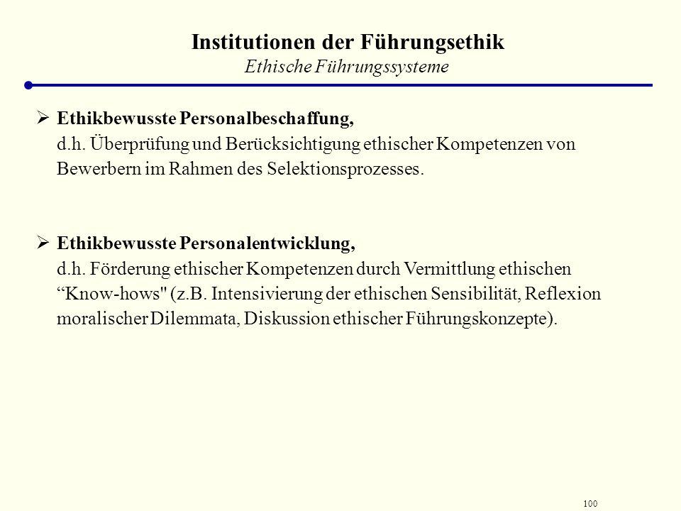99 Institutionen der Führungsethik  Ethik-Advokat  Institution ist dadurch charakterisiert, dass dieser nicht (reaktiv) auf die Berichte ethisch fra