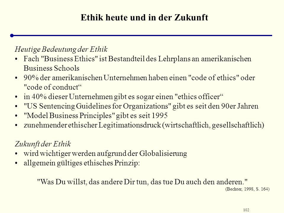 101 Institutionen der Führungsethik Ethische Führungssysteme  Ethikbewusste Personalbeurteilung, d.h. möglichst systematische Evaluierung un-/ethisch