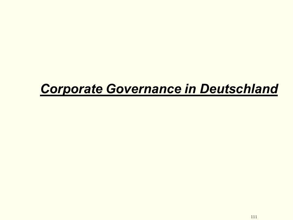 110 Treiber für Corporate Governance Folgen:  Unternehmen, deren Corporate Governance unzureichend ist, werden das Vertrauen der Kapitalgeber nur sch