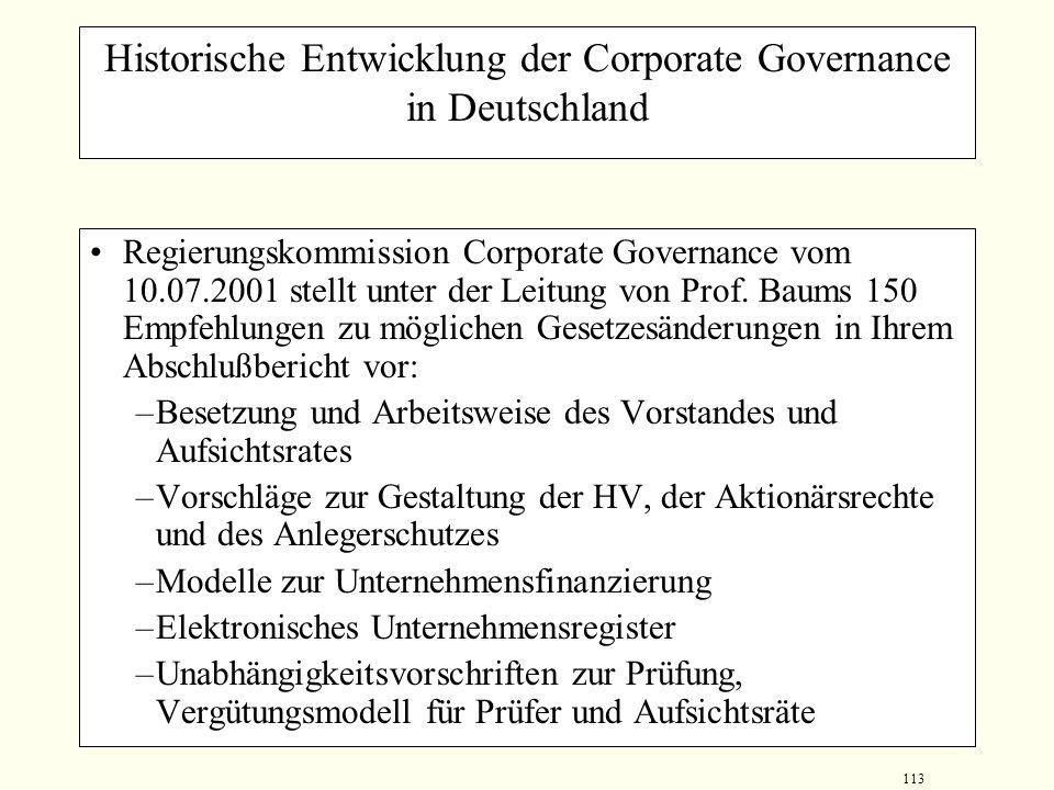 112 Indizien für eine ineffiziente Corporate Governance in Deutschland Hohe Konzentration des Anteilsbesitzes bei kontrollierenden Großaktionären zu L
